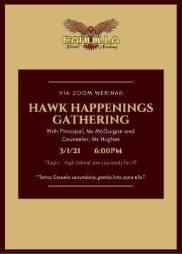 Hawk Happenings 3/1/21 @ 6:00 PM